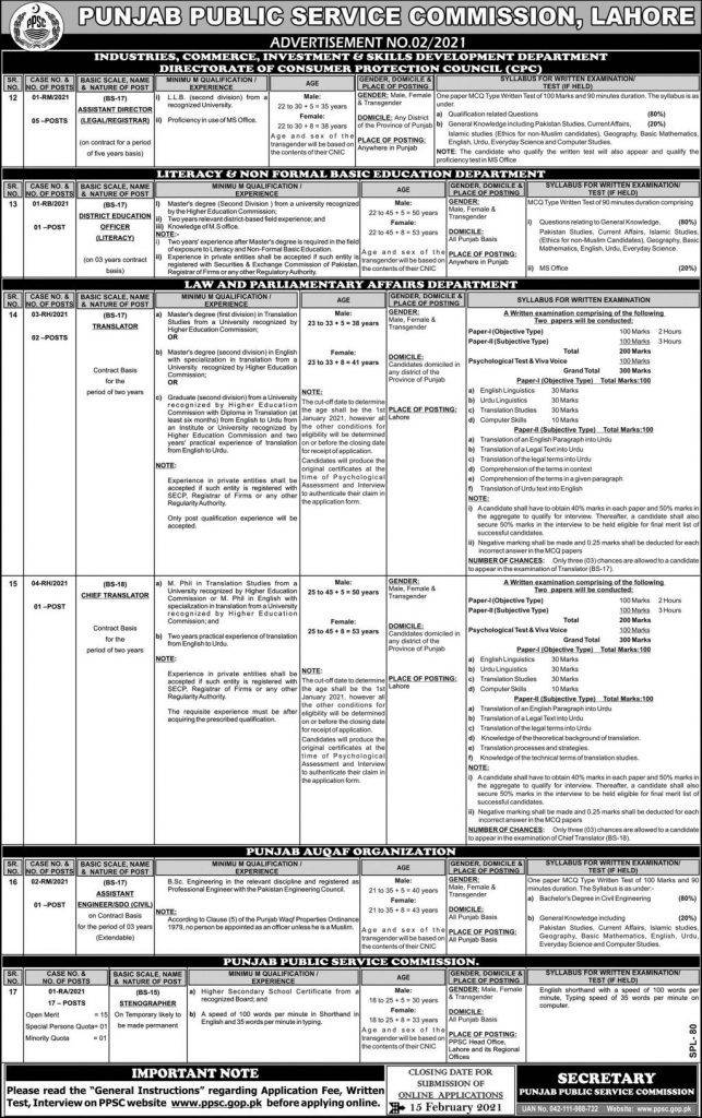 Stenographer Jobs Punjab Public Service Commission PPSC Roll No Slips