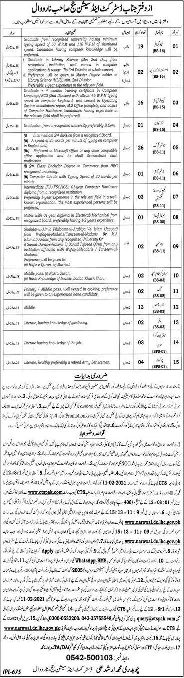 District Session Judge Narowal Jobs CTSPAK Test Roll No Slip