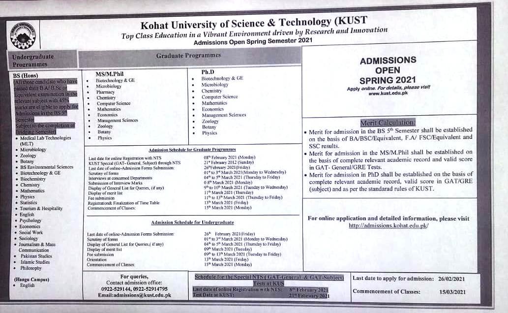 KUST Kohat Admissions MPhil PhD Spring 2021 NTS Results Merit List