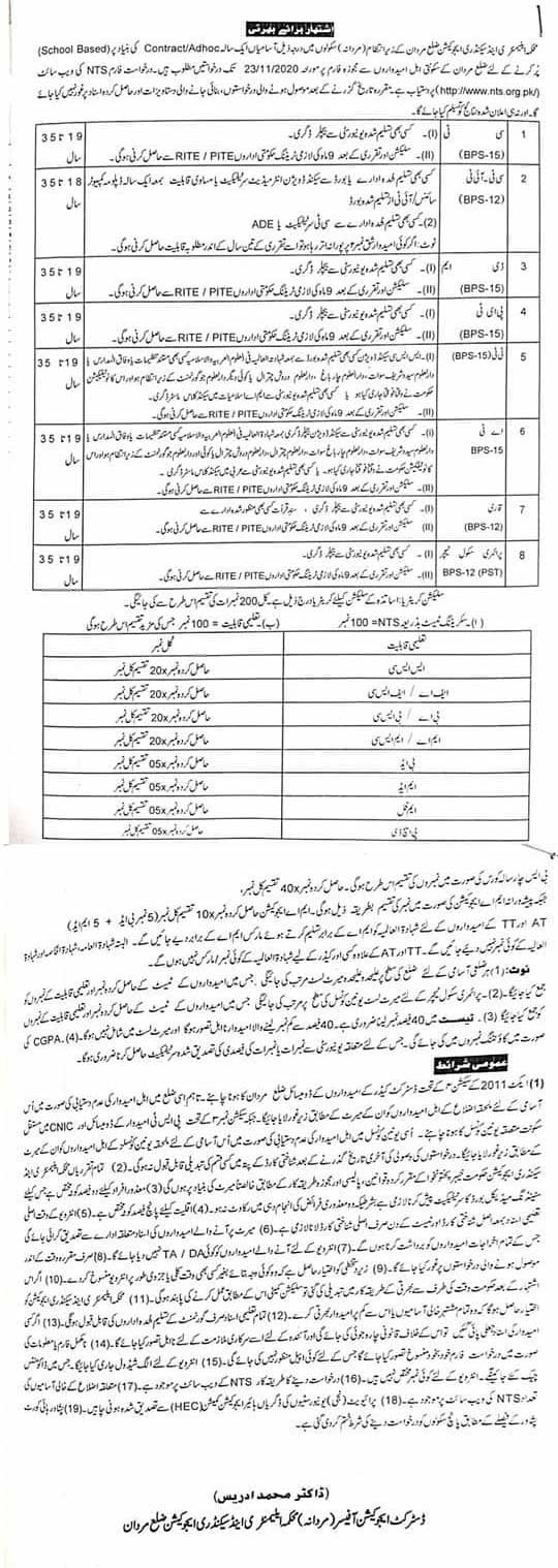 PST AT DM Qari Qaria NTS Answer Keys Result KP Education Department