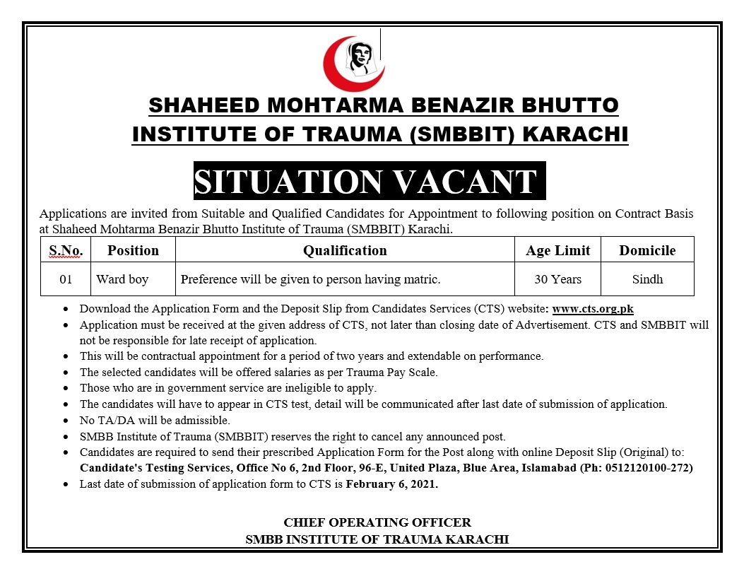SMBBIT Karachi Ward Boy Jobs CTS Test Result