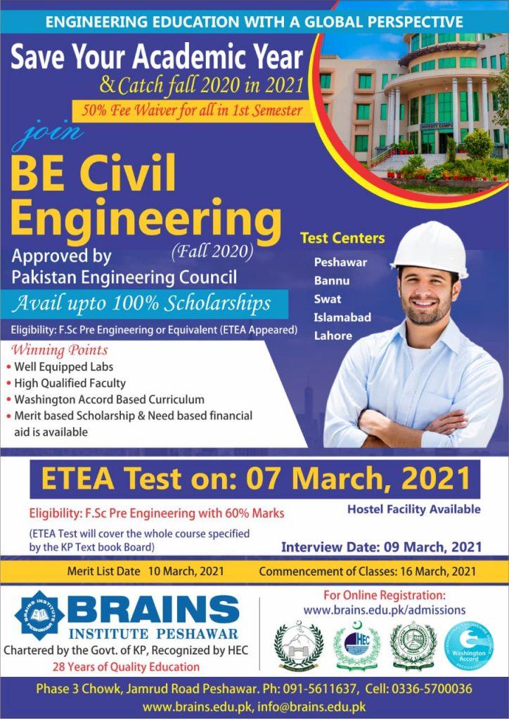 BE Civil Engineering Admission The Brains Institute Peshawar ETEA Slips
