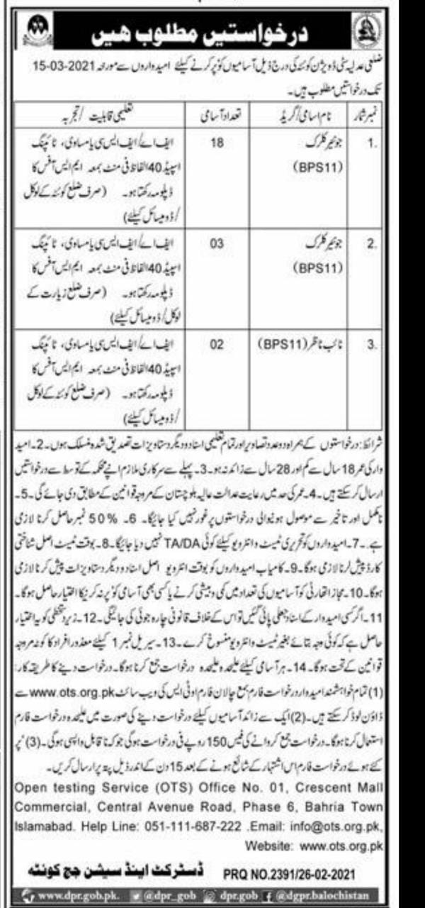 District Session Court Quetta Jobs OTS Test Roll No Slips