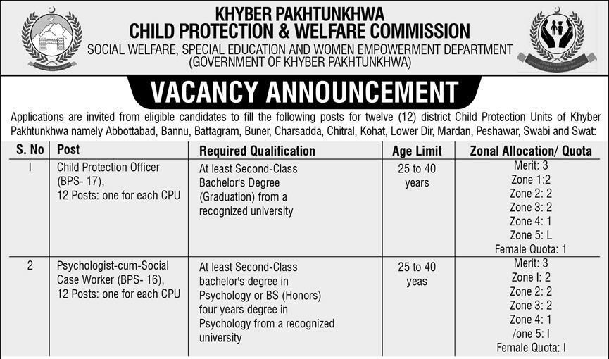 Child Protection and Welfare Commission Jobs KPK ETEA Roll No Slip