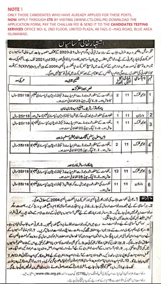 Directorate General of Social Welfare Bait ul Mal Punjab Jobs CTS Slip
