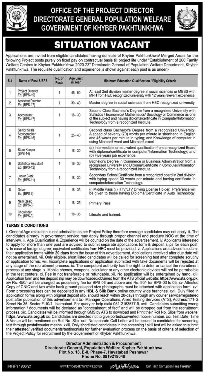 Directorate General Population Welfare KPK Jobs ATS Test Result