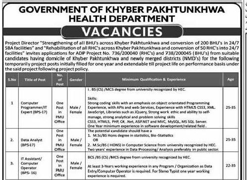 KPK Health Department Strengthening of all BHU Jobs ETEA Result