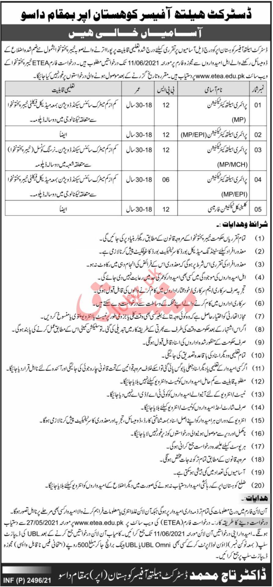 KP District Health Office Kohistan Upper Jobs ETEA Test Roll No Slip
