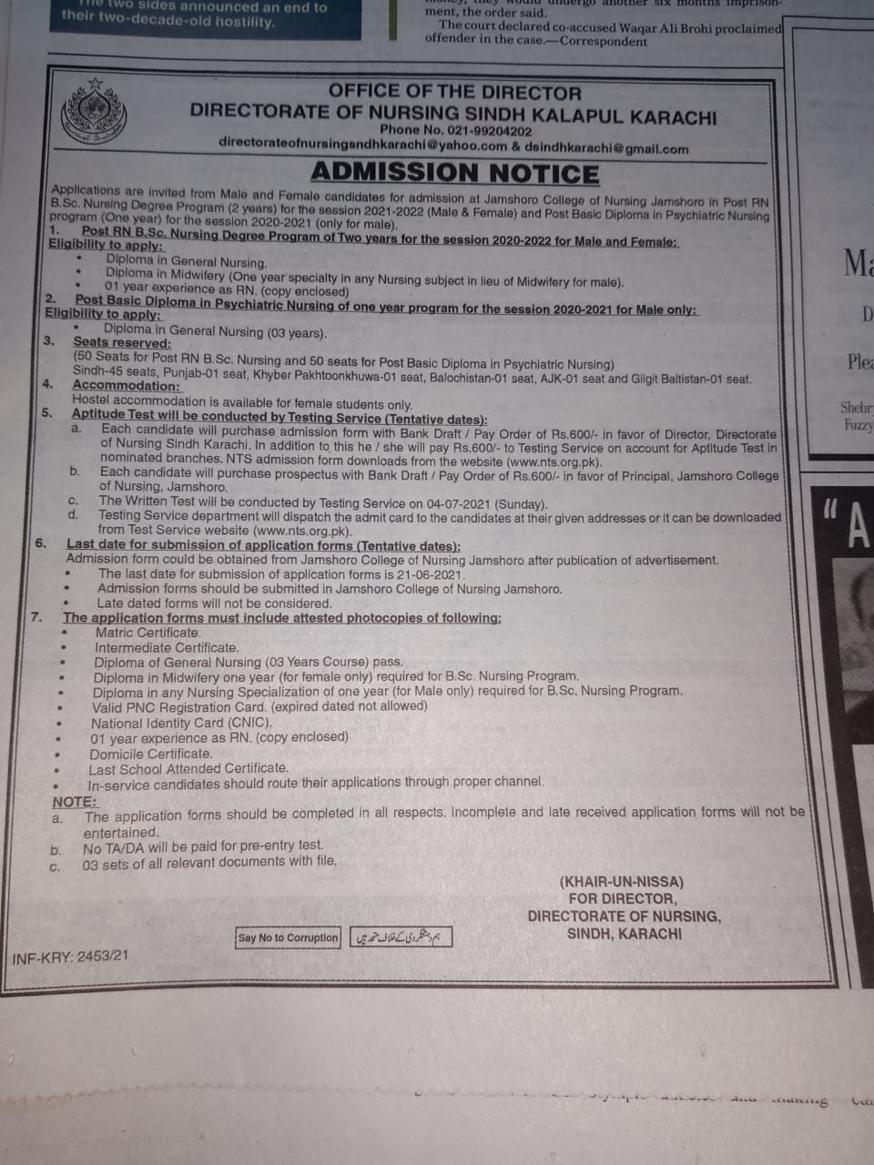 Sindh Directorate of Nursing Admission RN BS Nursing Program NTS Slip