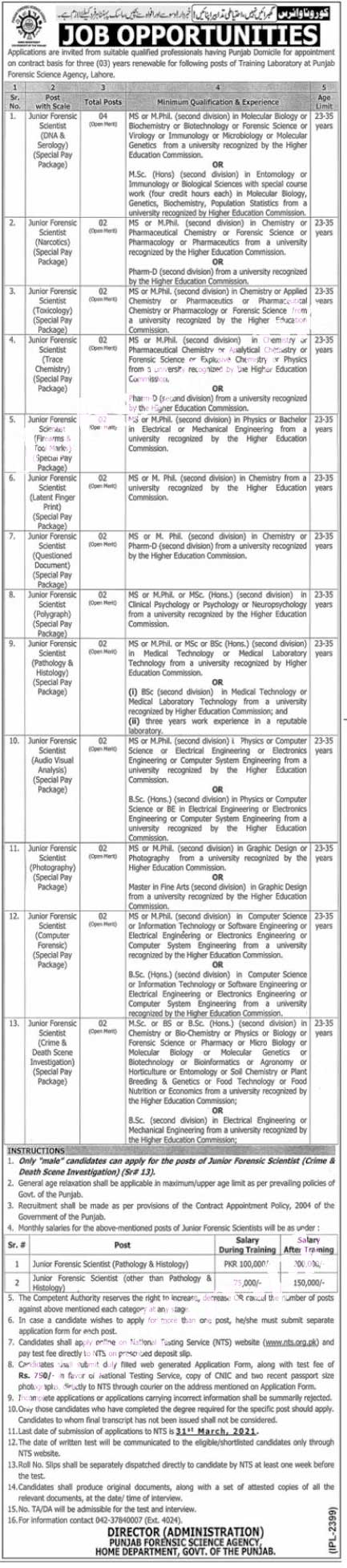 Lahore PFSA Punjab Forensic Science Agency Jobs NTS Result