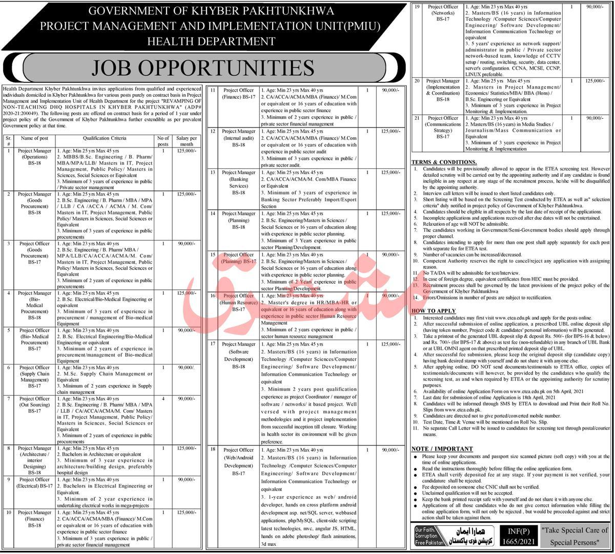 PMIU Project Management Implementation Unit Jobs ETEA Roll No Slip