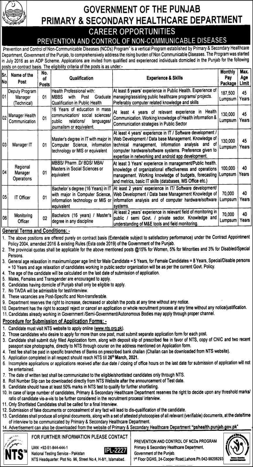 PSHD Primary Secondary Healthcare Department Jobs NTS Result