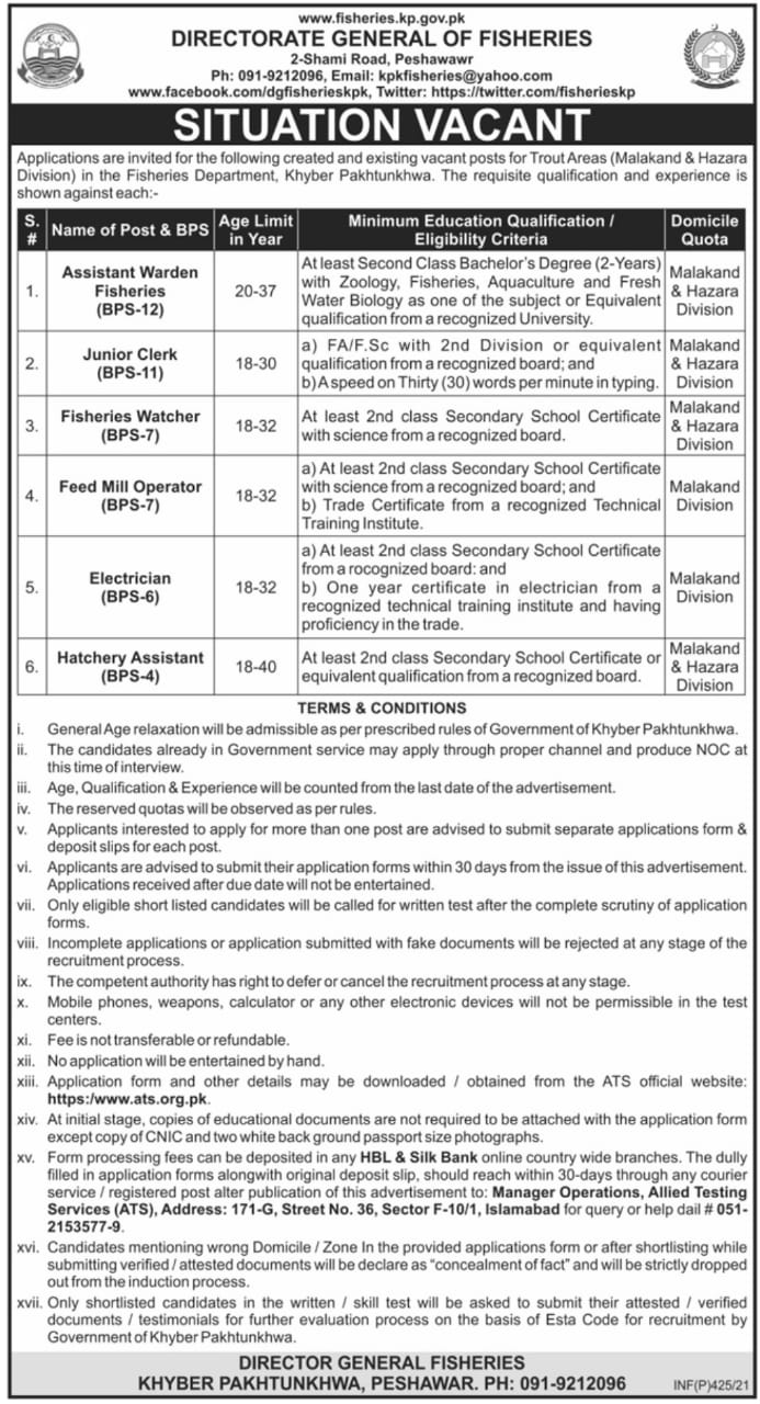 Directorate General of Fisheries KPK Jobs ATS Phase 2 & Phase 3 Result