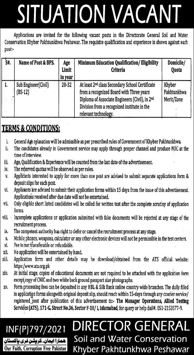 Directorate General Soil and Water Conservation Jobs ATS Test Result