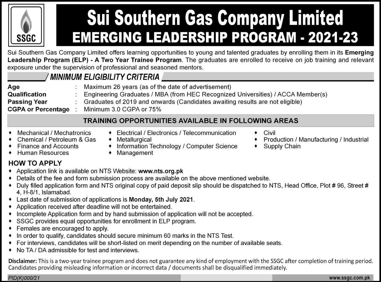 SSGC Emerging Leaders Two Year Trainee Program NTS Test Result
