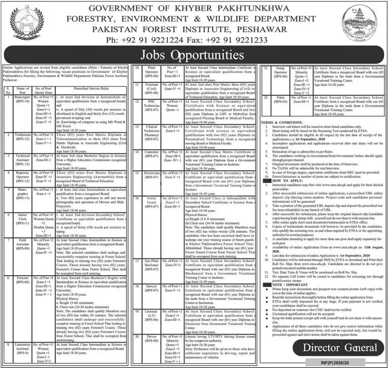 Forestry Environment Wildlife PFI Peshawar Jobs ETEA Result f
