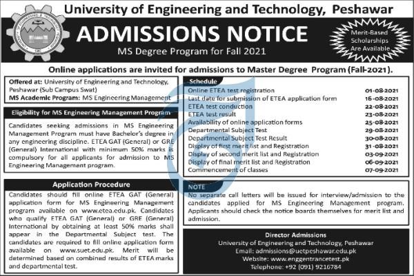 UET Peshawar Swat MS Admission 2021 ETEA Test Roll No Slip