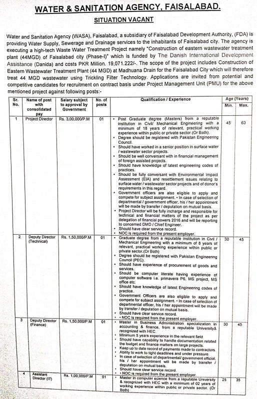 Water Sanitation Agency WASA Faisalabad 44MGD Phase I Jobs NTS Result