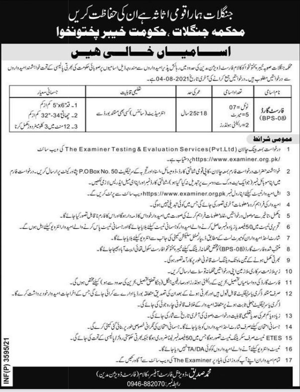 DFO Kalam Forest Division Madyan Jobs ETES Roll No Slip