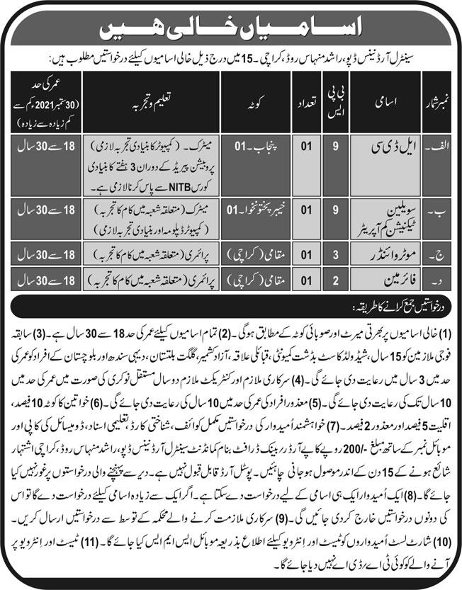 government-jobs-in-karachi-today-2021-at-cod-karachi-central-ordnance-depot-karachi