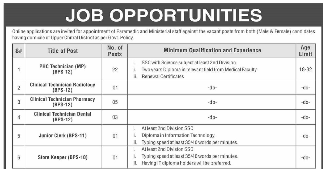 DHO District Health Officer Upper Chitral Jobs ETEA Roll No Slip