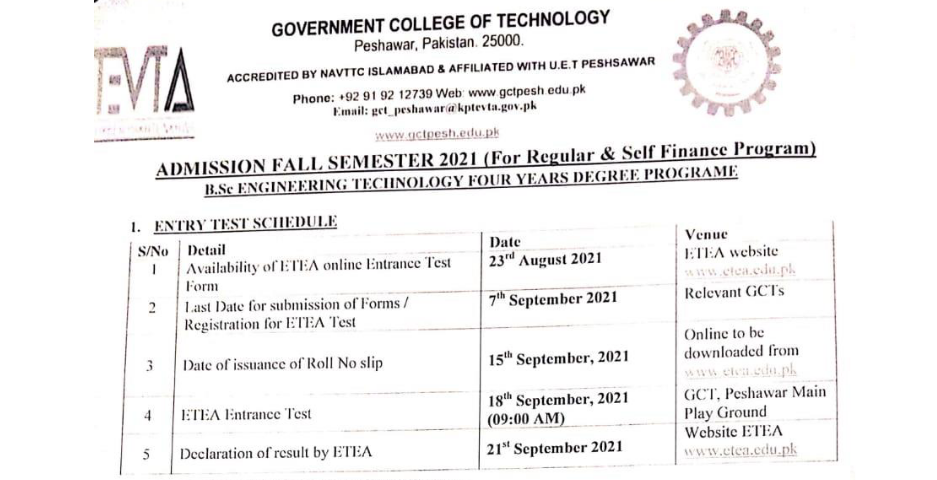 GCT Peshawar BSc Engineering Technology Admission ETEA Roll No Slip