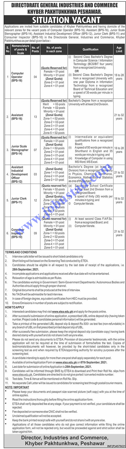 KPK Directorate General of Industries Commerce Jobs ETEA Roll No Slip