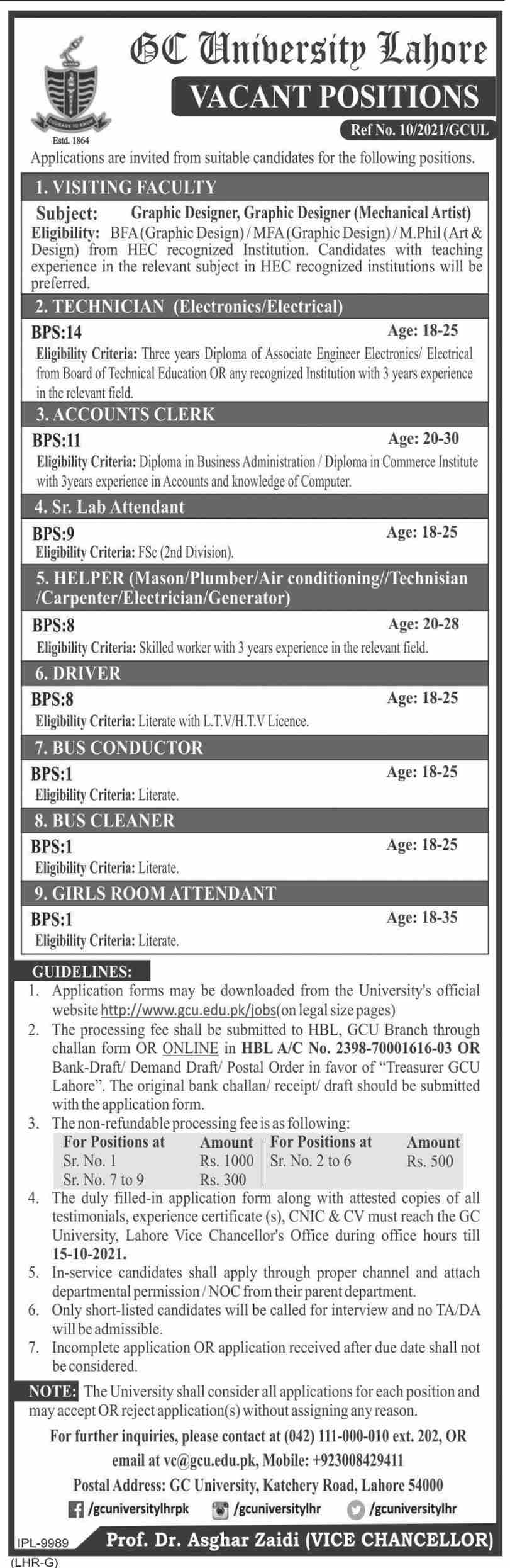 Government Jobs 2021 in Lahore Government College University GCU