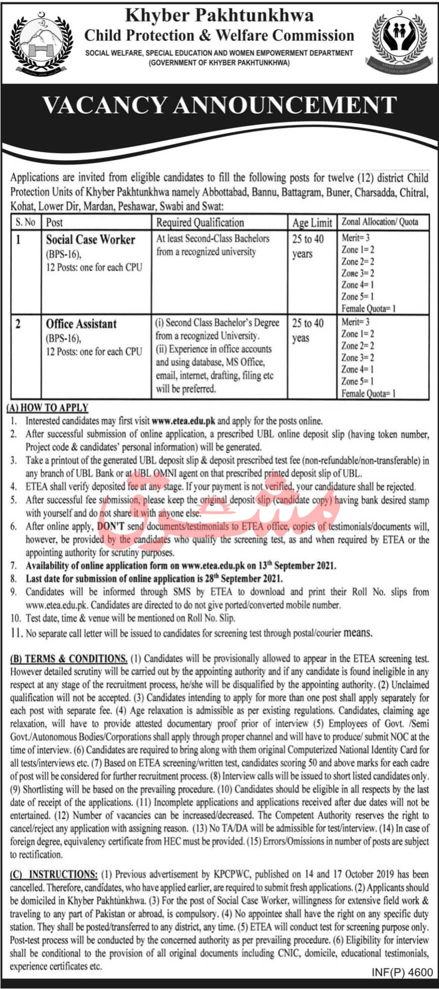Child Protection and Welfare Commission Jobs ETEA Roll No Slip