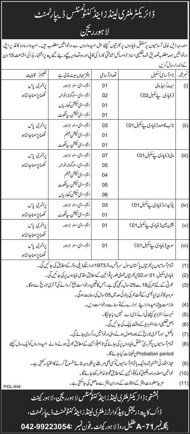 Latest Govt Jobs in Lahore At Military Lands Cantonment Department MLC