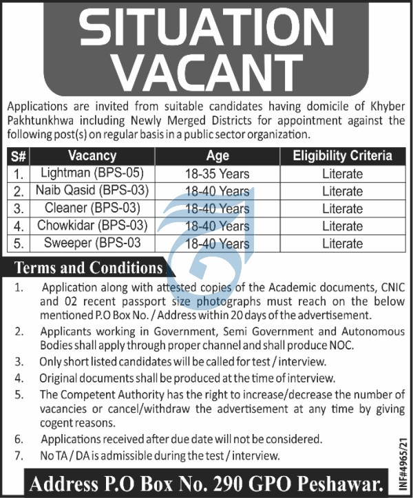 Govt of KPK Jobs PO Box 290 Jobs Peshawar