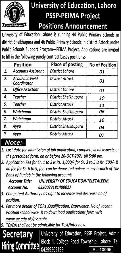 Latest Govt jobs in Punjab 2021 At Lahore University Of Education