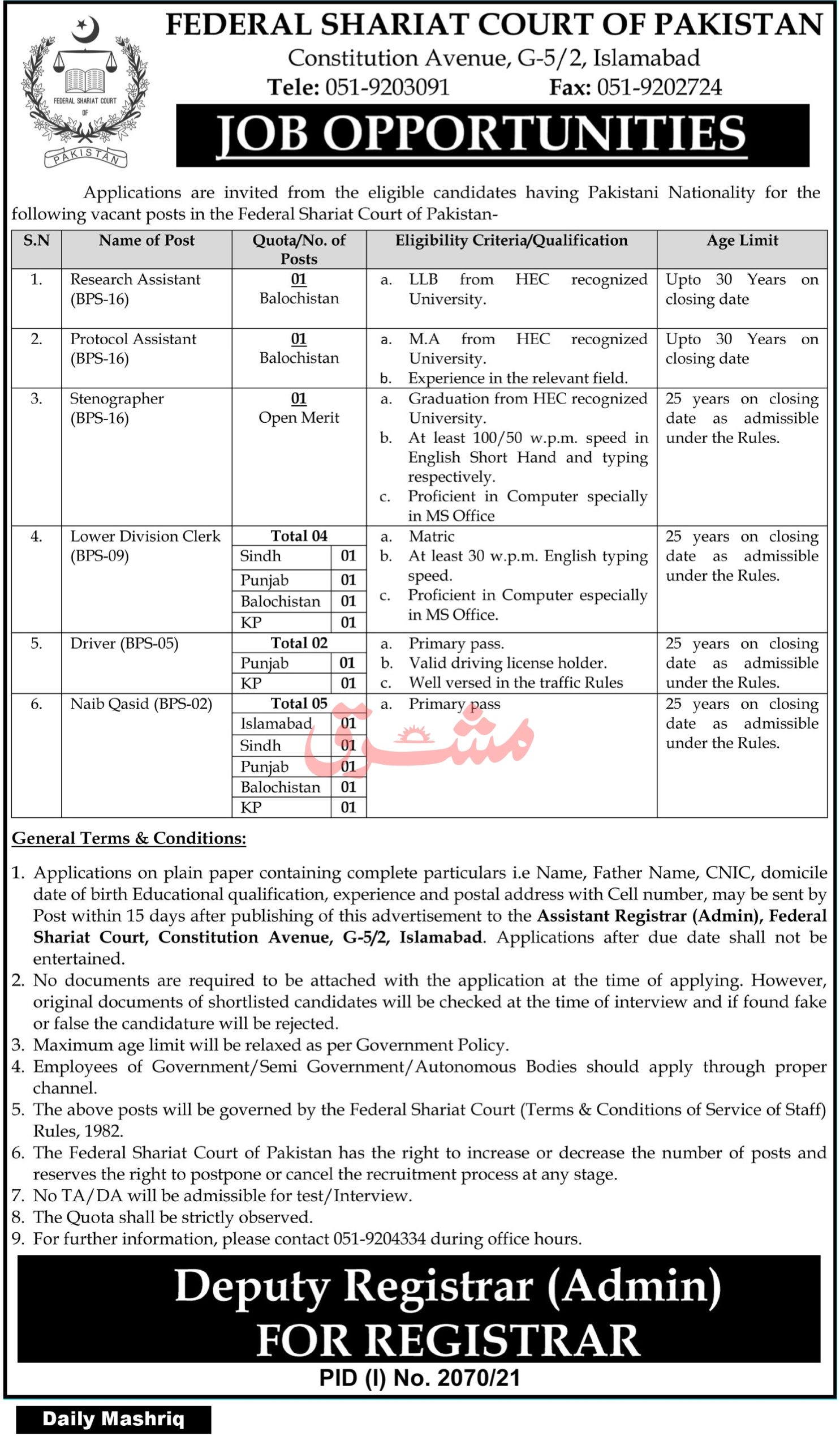 Latest Govt Jobs in Pakistan Today At Federal Shariat Court