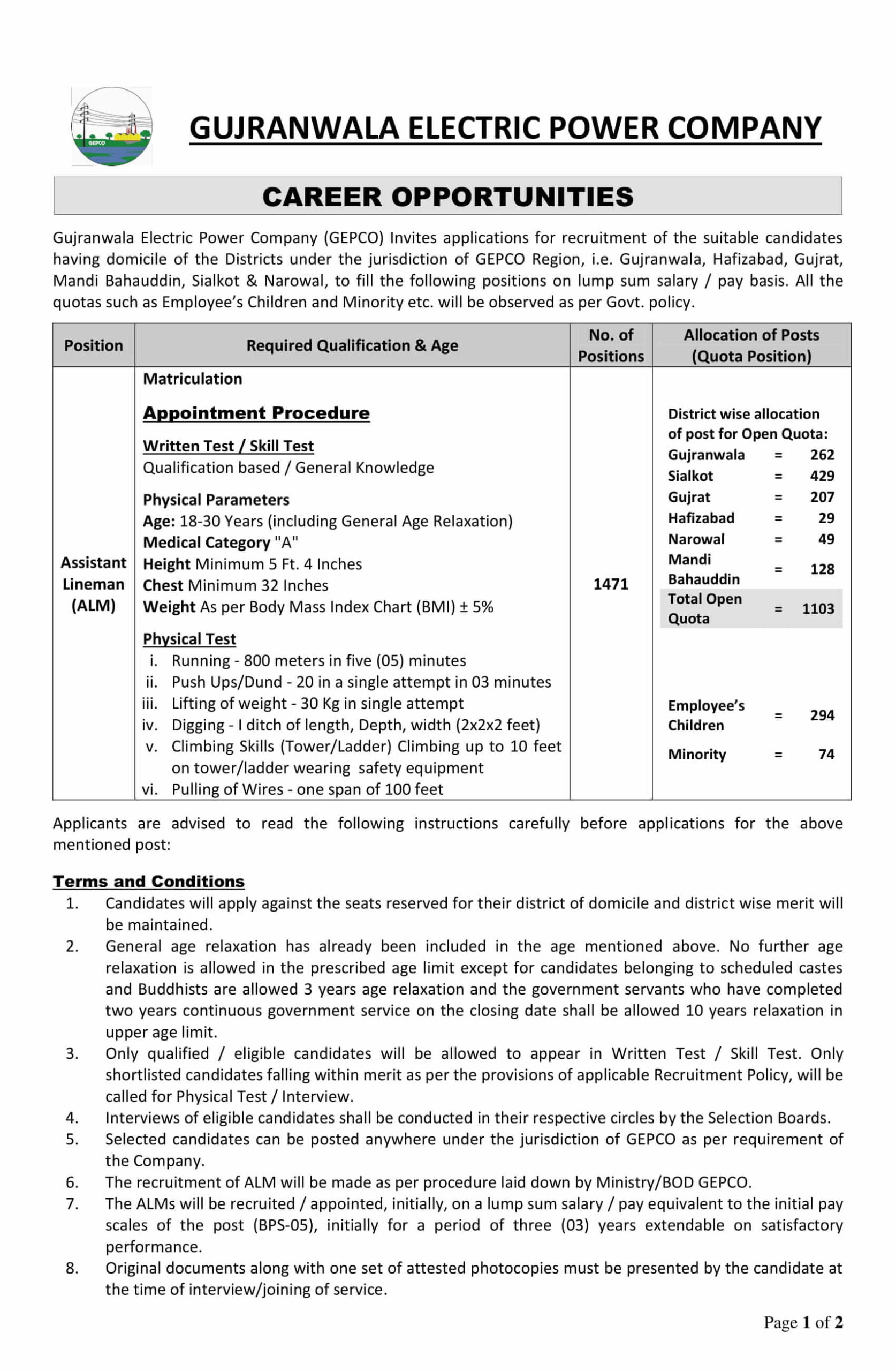 Gujranwala Electric Power Company GEPCO ALM Jobs NTS Roll No Slip
