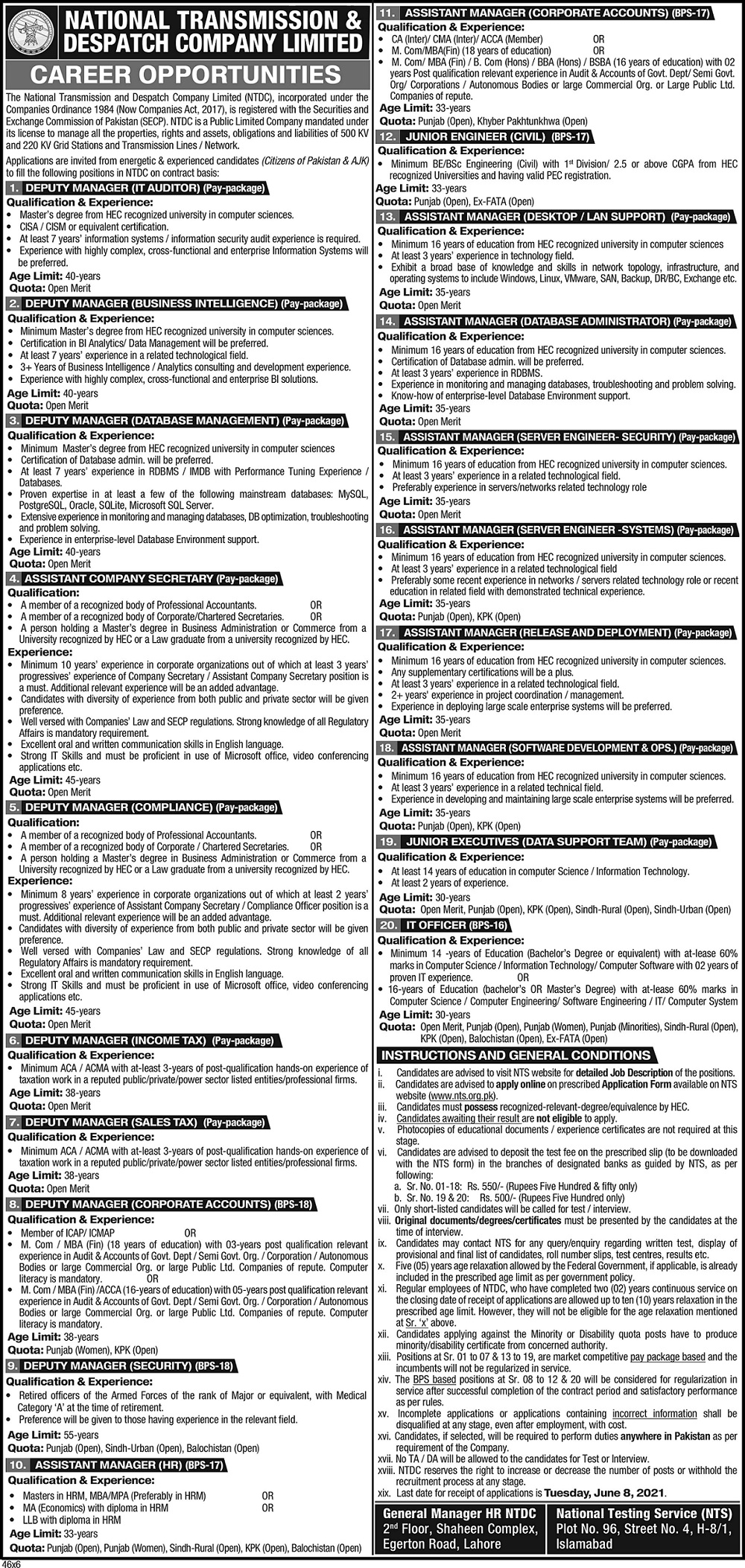 NTS NTDC Jobs Result 10 October 2021 Assistant Lineman, Assistant Sub Station Attendant & Tube Well Operator