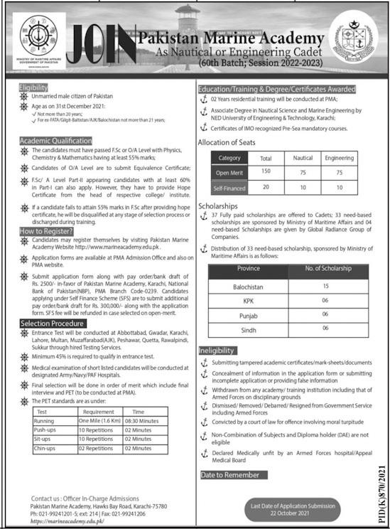 Government Jobs in Karachi For Intermediate At Pakistan Marine Academy PMA