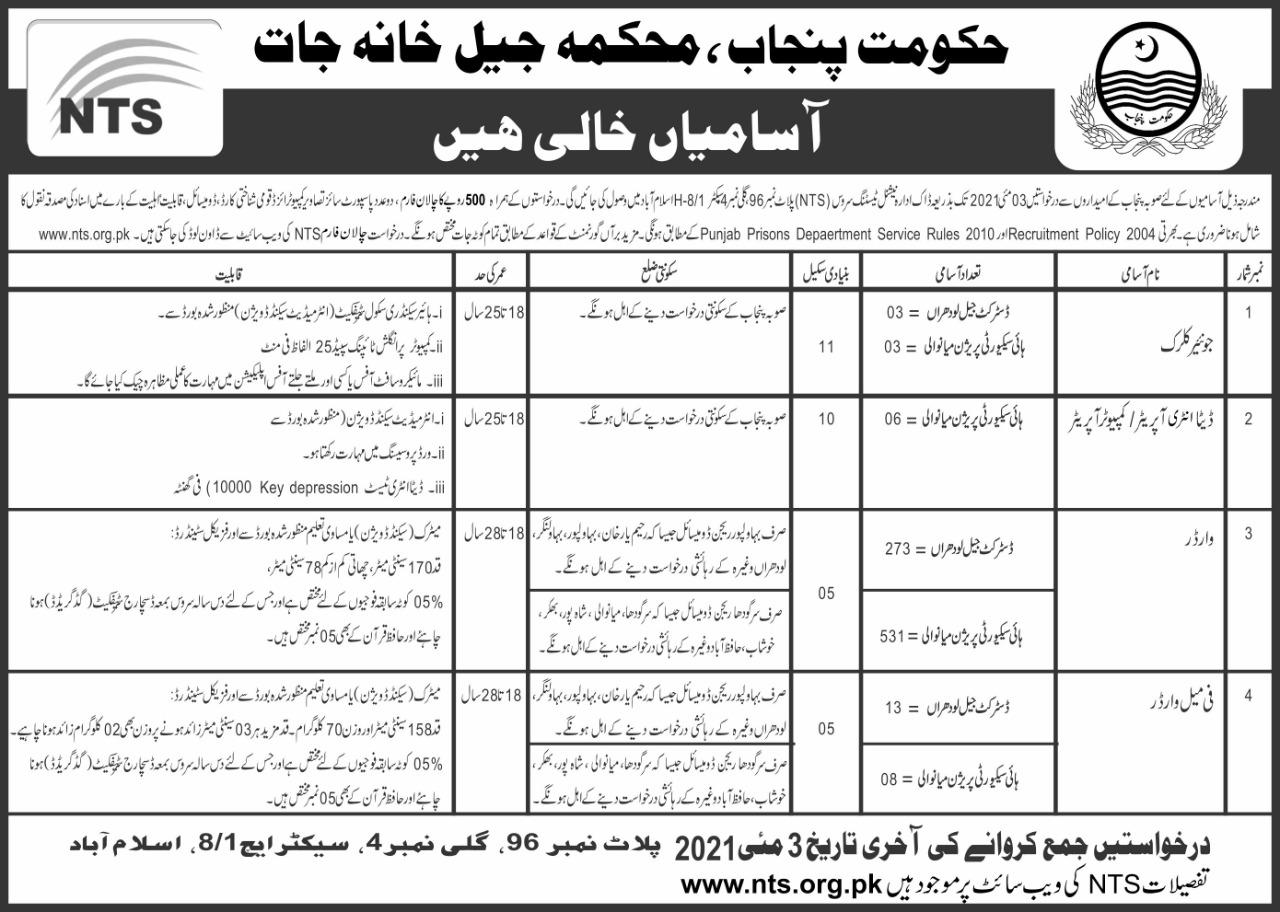 Punjab Prison Department Warder Female Warder Jobs NTS Results