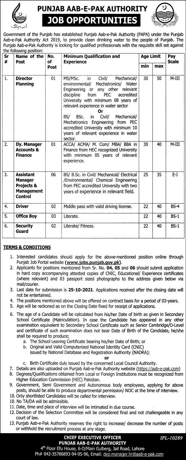 Latest Govt Jobs in Punjab 2021 Punjab Aab-E-Pak Authority