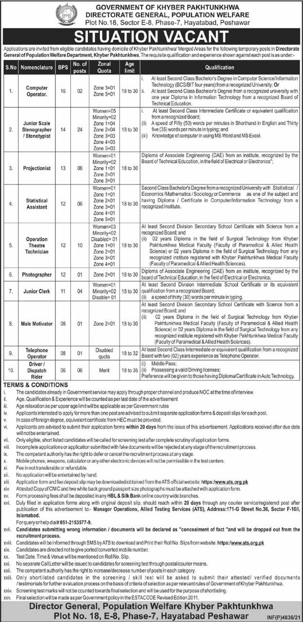 Directorate General Population Welfare Phase 2 Jobs ATS Roll No Slip